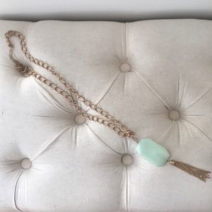Jewelry - Gold Necklace with sea foam green stone